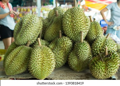 These are Thai Durian. Durian has been arranged on the shelf to be displayed to the buyer. We called The King of the fruit. Durian have his self season