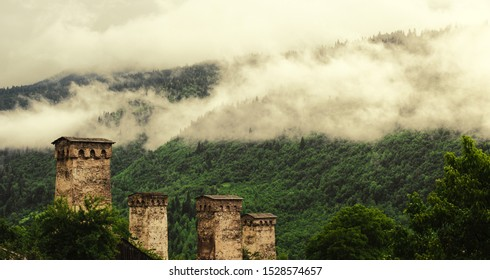 These are towers of Svaneti. They are located more then 1400 meters above the sea and built many centuries ago.
