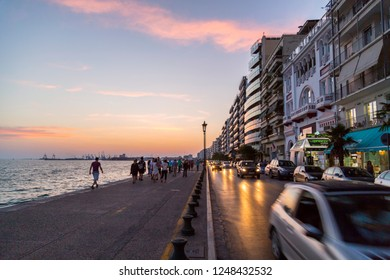 Thessalonik, Greece - July 22, 2018: Coastal view from Thessaloniki, the second largest vity of Greece on the south coast of the Aegean Sea.
