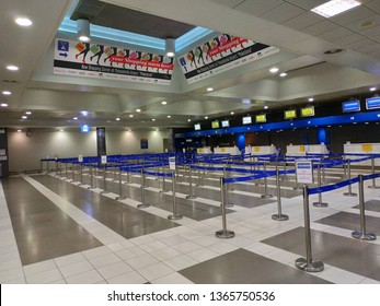 THESSALONIKI, GRECE - APRIL 11, 2019: THESSALONIKI airport inside view with equipment and data screens