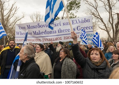 Thessaloniki / Greece - 01/21/2018 : Unknown people are holding big and small signs  Saying * Macedonia is Greek * at the rally for the name of Macedonia in Thessaloniki Greece