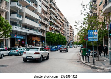 Thessaloniki, Greece - 11 April 2019: street view with building and cars in it