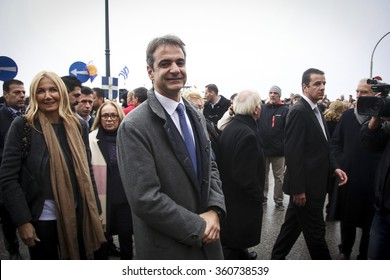 Thessaloniki, Greece. 6 Jan 2016. Kiriakos Mitsotakis, the new president of New Democracy party visited the Epiphany ceremony in Thessaloniki
