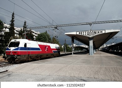 Thessaloniki, Greece. Apr. 17,2014.Trains sit in platform in railway station during a 24-hour strike of Members of the Panhellenic Federation of Railway Workers