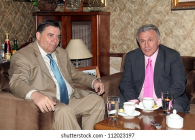 THESSALONIKI, GREECE - APRIL 12: George Karatzaferis (L) and Panagiotis Psomiadis (R) in a meeting, in the city of Thessaloniki, on April 12, 2011, Thessaloniki Greece.
