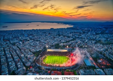 Thessaloniki, Greece, April 21, 2019: Aerial shoot of the Toumba Stadium full of fans of PAOK celebrating the winning of the Greek Super League championship title.