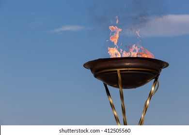 Thessaloniki, Greece - April 23, 2016: Arrival of the Olympic Flame of XXXI Summer Olympic Games Rio 2016  in Thessaloniki