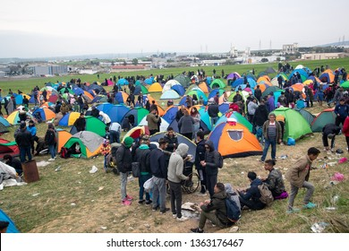 Thessaloniki, Greece - April 5, 2019: Hundreds of migrants and refugees gathered following anonymous social media calls to walk until the Northern borders of Greece to pass to Europe.