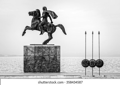 Thessaloniki, Greece - April 6, 2014: Statue of the famous king Great Alexander in the harbour of Thessaloniki Greece .