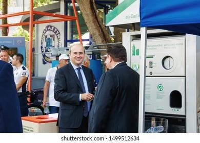 Thessaloniki, Greece - August 08 2019: Greek Government minister Kostis Hatzidakis at TIF. Politician Konstantinos Hatzidakis Minister for the Environment & Energy at Thessaloniki International Fair.