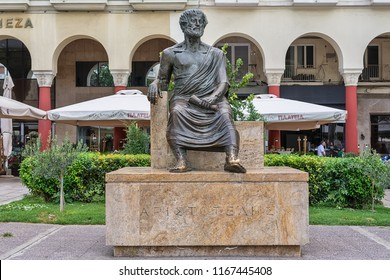 Thessaloniki, Greece - August 16, 2018: Main sight of city. The sculpture of the ancient Greek philosopher Aristotle in the historic center of the city on the Aristotelous Square.