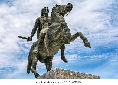 Thessaloniki, Greece - August 16, 2018: Statue of Alexander the Great, in Thessaloniki, in the Greek Macedonia. This statue is a monument and landmark on the waterfront of the city of Thessaloniki.