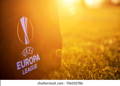 Thessaloniki, Greece- August 2, 2017: UEFA Europa League Logo on the bag on the pitch in the sunset