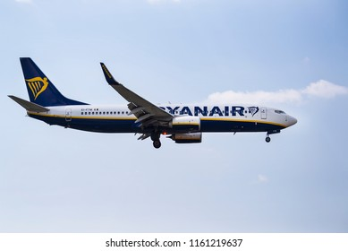 Thessaloniki, Greece - August 20, 2018. A Ryanair Boeing 737-800 (EI-FTW) lands at Thessaloniki International Airport.