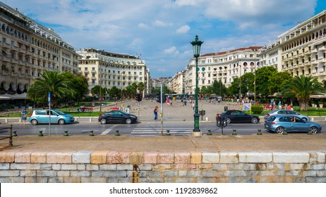 Thessaloniki, Greece - August 21, 2018: Aristotelous Square, main Square in Thessaloniki, on Nikis Avenue in the city center, view from the sea