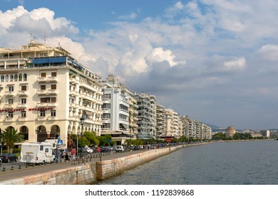 Thessaloniki, Greece - August 21, 2018: cityscape of Thessaloniki and row of bildings leading to the famous White Tower of Thessaloniki, Greece