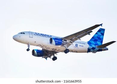 Thessaloniki, Greece - August 22, 2018. A Cobalt Air Airbus A319-100 (5B-DCU) lands at Thessaloniki International Airport.