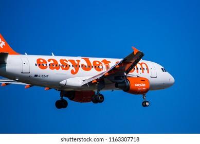 Thessaloniki, Greece - August 24, 2018. An Easyjet Airbus A319-100 (G-EZAT) lands at Thessaloniki International Airport.