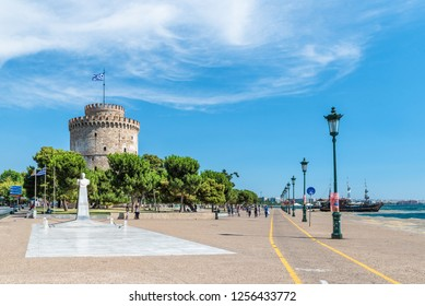 Thessaloniki, Greece - August  25. 2017:  White tower of Thessaloniki, coastal city in Greece