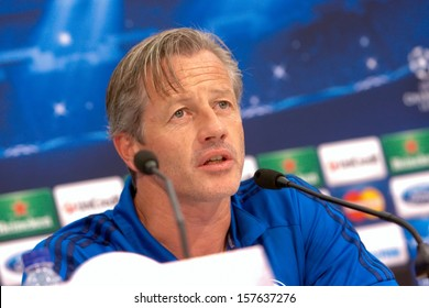 THESSALONIKI, GREECE - AUGUST 26: Jens Keller on a press conference prior Champions League match PAOK FC vs Schalke FC on August 26,2013 in Thessaloniki, Greece.