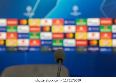 Thessaloniki, Greece - August 28, 2018: Close up on the microphone at the press conference before UEFA Champions League game PAOK vs FC Benfica played at Toumba Stadium. Shallow dof