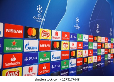 Thessaloniki, Greece - August 28, 2018: Interview area with sponsors logos before UEFA Champions League game PAOK vs FC Benfica  at Toumba Stadium