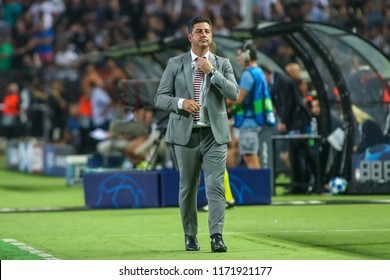 Thessaloniki, Greece - August 29, 2018: The coach of Benfica Rui Vitoria during the UEFA Champions League Play-offs , 2nd leg PAOK vs FC Benfica played at Toumba Stadium