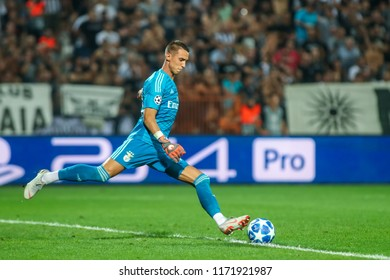 Thessaloniki, Greece - August 29, 2018: Player of Benfica Odisseas Vlachodimos in action during the UEFA Champions League Play-offs , 2nd leg PAOK vs FC Benfica played at Toumba Stadium