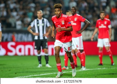 Thessaloniki, Greece - August 29, 2018: Player of Benfica Gedson Fernandes in action during the UEFA Champions League Play-offs , 2nd leg PAOK vs FC Benfica played at Toumba Stadium