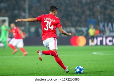 Thessaloniki, Greece - August 29, 2018: Player of Benfica Andre Almeida in action during the UEFA Champions League Play-offs , 2nd leg PAOK vs FC Benfica played at Toumba Stadium
