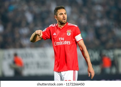 Thessaloniki, Greece - August 29, 2018: Player of Benfica Jardel in action during the UEFA Champions League Play-offs , 2nd leg PAOK vs FC Benfica played at Toumba Stadium