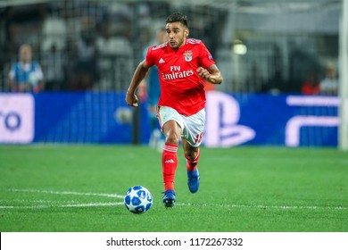Thessaloniki, Greece - August 29, 2018: Player of Benfica Eduardo Salvio in action during the UEFA Champions League Play-offs , 2nd leg PAOK vs FC Benfica played at Toumba Stadium