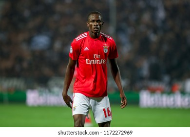 Thessaloniki, Greece - August 29, 2018: Player of Benfica Alfa Semedo in action during the UEFA Champions League Play-offs , 2nd leg PAOK vs FC Benfica played at Toumba Stadium