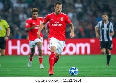 Thessaloniki, Greece - August 29, 2018: Player of Benfica Haris Seferovic in action during the UEFA Champions League Play-offs , 2nd leg PAOK vs FC Benfica played at Toumba Stadium