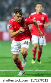 Thessaloniki, Greece - August 29, 2018: Player of Benfica Franco Cervi in action during the UEFA Champions League Play-offs , 2nd leg PAOK vs FC Benfica played at Toumba Stadium