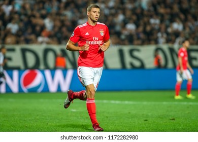 Thessaloniki, Greece - August 29, 2018: Player of Benfica Ruben Dias in action during the UEFA Champions League Play-offs , 2nd leg PAOK vs FC Benfica played at Toumba Stadium