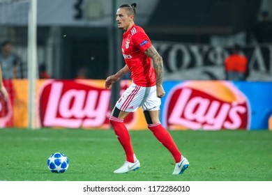 Thessaloniki, Greece - August 29, 2018: Player of Benfica Ljubomir Fejsa in action during the UEFA Champions League Play-offs , 2nd leg PAOK vs FC Benfica played at Toumba Stadium