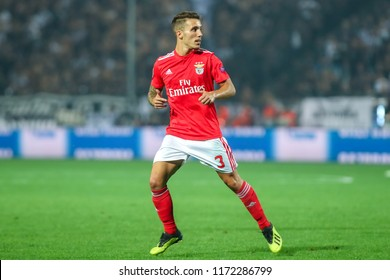 Thessaloniki, Greece - August 29, 2018: Player of Benfica Alex Grimaldo	in action during the UEFA Champions League Play-offs , 2nd leg PAOK vs FC Benfica played at Toumba Stadium