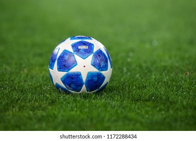 Thessaloniki, Greece - August 29, 2018: Official UEFA Champions League match ball on the grass during UEFA Champions League game PAOK vs FC Benfica  at Toumba Stadium