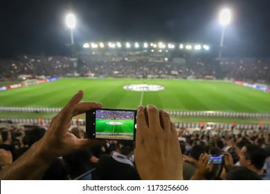 Thessaloniki, Greece - August 29, 2018: Panoramic view of the Toumba stadium before the start of a UEFA Champions League soccer match PAOK vs FC Benfica