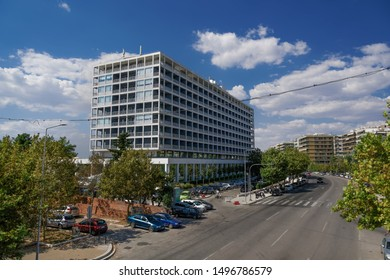 Thessaloniki, Greece - August 31 2019: Makedonia Palace five star iconic hotel facade. Elevated day sunny view of luxury hotel, seen from north view at Leoforos Megalou Alexandrou.