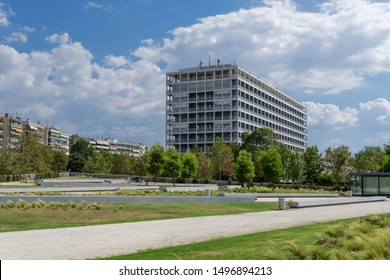 Thessaloniki, Greece - August 31 2019: Makedonia Palace five star iconic hotel facade. Day sunny view of luxury hotel, seen from the waterfront pedestrian area, next to Leoforos Megalou Alexandrou.