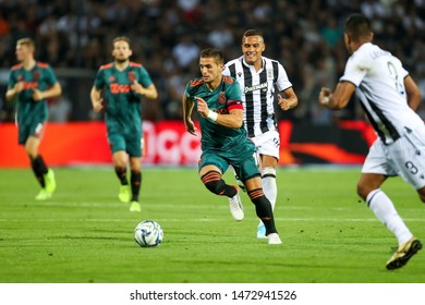 Thessaloniki, Greece - August 6, 2019 Player of Ajax Dusan Tadic in action during the UEFA Champions League third qualifying round between PAOK vs Ajax AFC at Toumba stadium