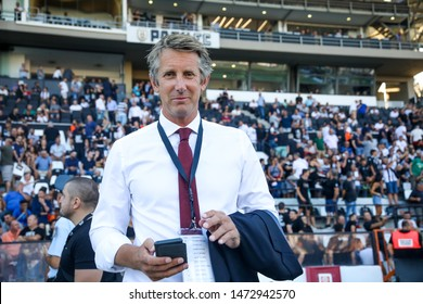 Thessaloniki, Greece - August 6, 2019: General manager of Ajax Edwin van der Sar during the UEFA Champions League third qualifying round between PAOK vs Ajax AFC at Toumba stadium