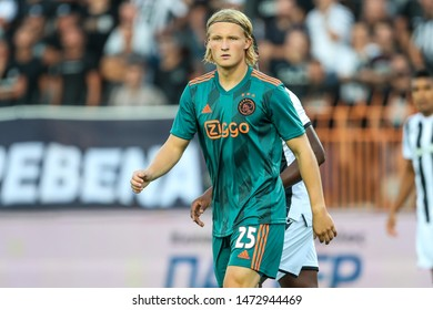 Thessaloniki, Greece - August 6, 2019 Player of Ajax Kasper Dolberg in action during the UEFA Champions League third qualifying round between PAOK vs Ajax AFC at Toumba stadium