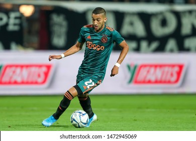 Thessaloniki, Greece - August 6, 2019 Player of Ajax Hakim Ziyech in action during the UEFA Champions League third qualifying round between PAOK vs Ajax AFC at Toumba stadium