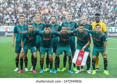 Thessaloniki, Greece - August 6, 2019 The team of Ajax during the UEFA Champions League third qualifying round between PAOK vs Ajax AFC at Toumba stadium