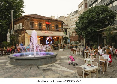 Thessaloniki, Greece - August 7 2017: Ladadika area with crowd and live music. A much visited city area with local bars and tavernas, Ladadika means the shops that sell oil and its derivatives.