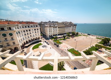 THESSALONIKI, GREECE - AUGUST 7, 2018: Panoramic view of Thessaloniki's Aristotelous Square, the central square of the city.