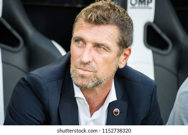 Thessaloniki, Greece - August 8, 2018. FC Spartak Moscow coach Massimo Carrera during a soccer match between PAOK FC and Spartak Moscow for the third qualifying round of the Champions League.